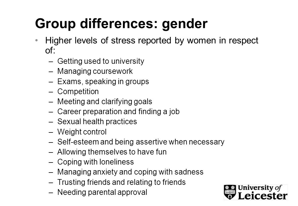 Group differences: gender Higher levels of stress reported by women in respect of: –Getting used to university –Managing coursework –Exams, speaking in groups –Competition –Meeting and clarifying goals –Career preparation and finding a job –Sexual health practices –Weight control –Self-esteem and being assertive when necessary –Allowing themselves to have fun –Coping with loneliness –Managing anxiety and coping with sadness –Trusting friends and relating to friends –Needing parental approval