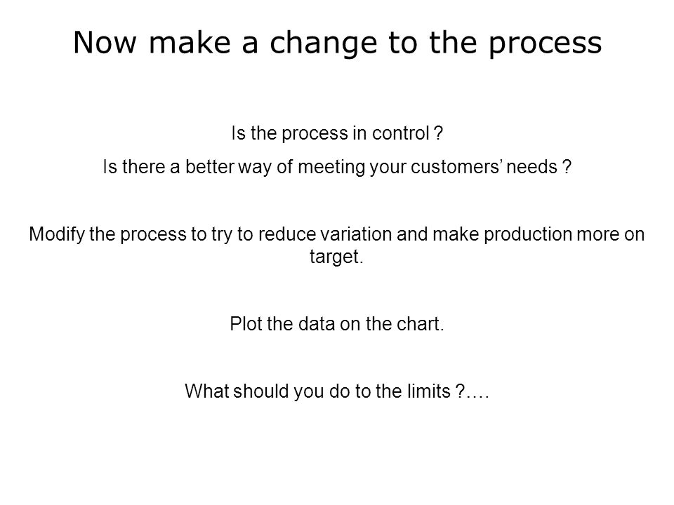 Now make a change to the process Is the process in control .