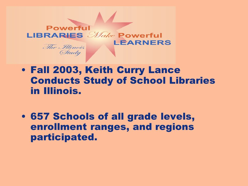 Fall 2003, Keith Curry Lance Conducts Study of School Libraries in Illinois.