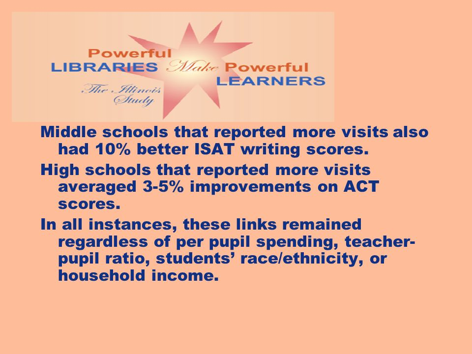 Middle schools that reported more visits also had 10% better ISAT writing scores.