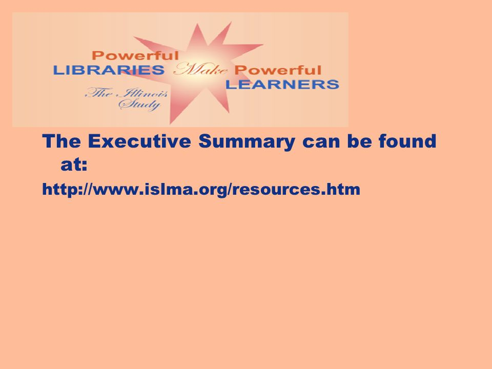 The Executive Summary can be found at: http://www.islma.org/resources.htm