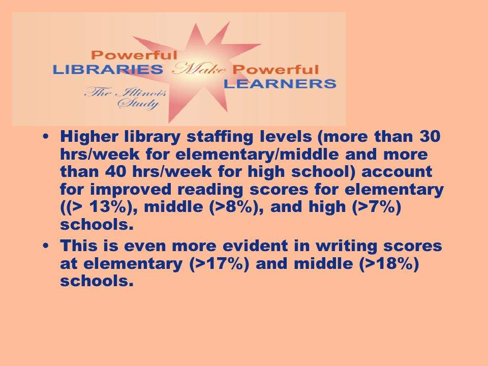 Higher library staffing levels (more than 30 hrs/week for elementary/middle and more than 40 hrs/week for high school) account for improved reading scores for elementary ((> 13%), middle (>8%), and high (>7%) schools.