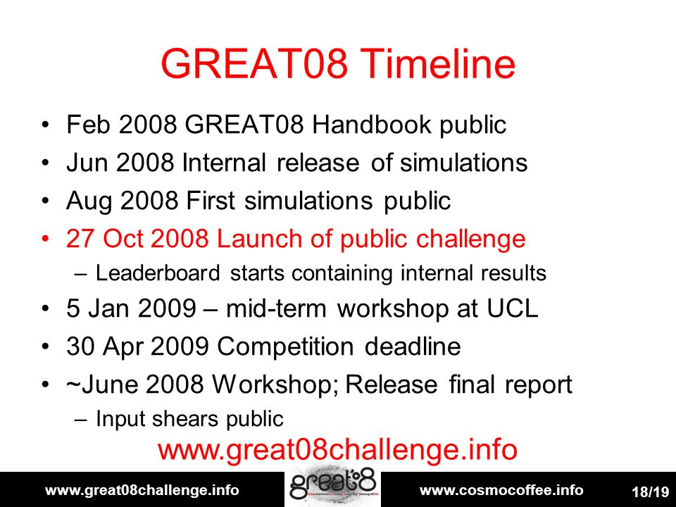 www.great08challenge.infowww.cosmocoffee.info 18/19 GREAT08 Timeline Feb 2008 GREAT08 Handbook public Jun 2008 Internal release of simulations Aug 2008 First simulations public 27 Oct 2008 Launch of public challenge –Leaderboard starts containing internal results 5 Jan 2009 – mid-term workshop at UCL 30 Apr 2009 Competition deadline ~June 2008 Workshop; Release final report –Input shears public www.great08challenge.info