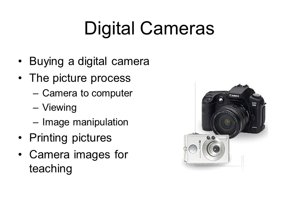 Digital Cameras Buying a digital camera The picture process –Camera to computer –Viewing –Image manipulation Printing pictures Camera images for teaching
