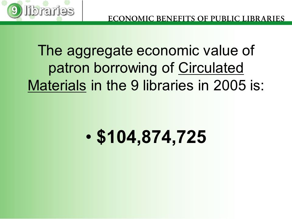 The aggregate economic value of patron borrowing of Circulated Materials in the 9 libraries in 2005 is: $104,874,725