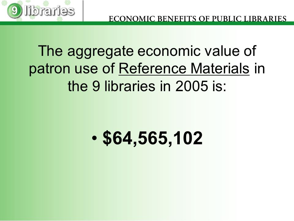 The aggregate economic value of patron use of Reference Materials in the 9 libraries in 2005 is: $64,565,102