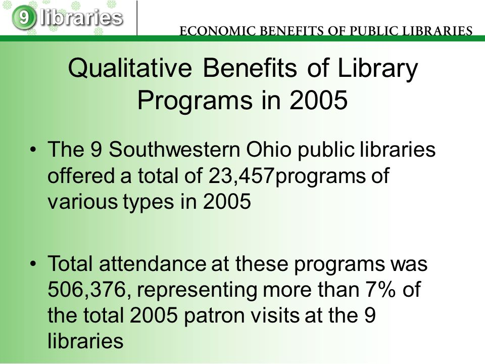 Qualitative Benefits of Library Programs in 2005 The 9 Southwestern Ohio public libraries offered a total of 23,457programs of various types in 2005 Total attendance at these programs was 506,376, representing more than 7% of the total 2005 patron visits at the 9 libraries