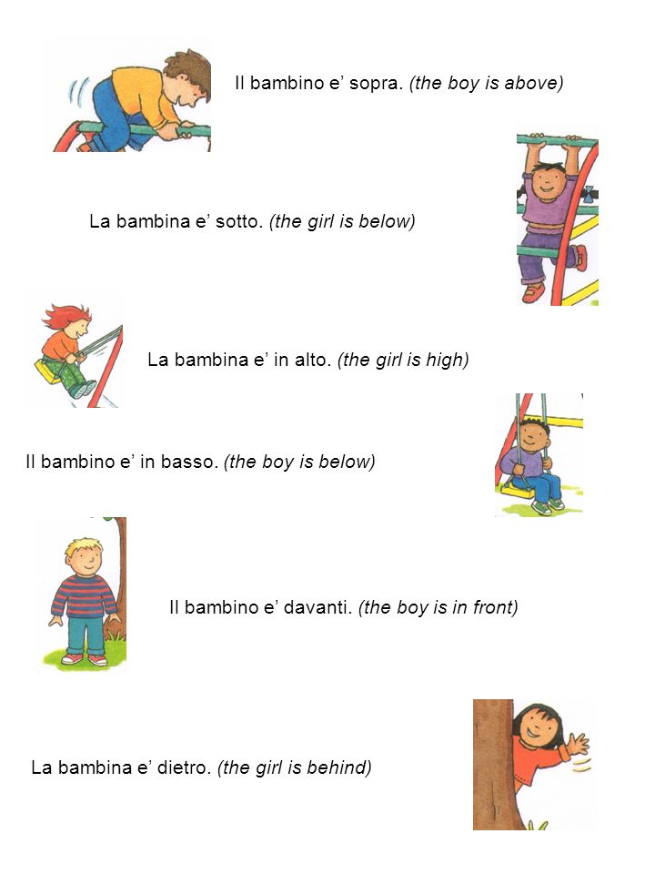 Il bambino e sopra. (the boy is above) La bambina e sotto.