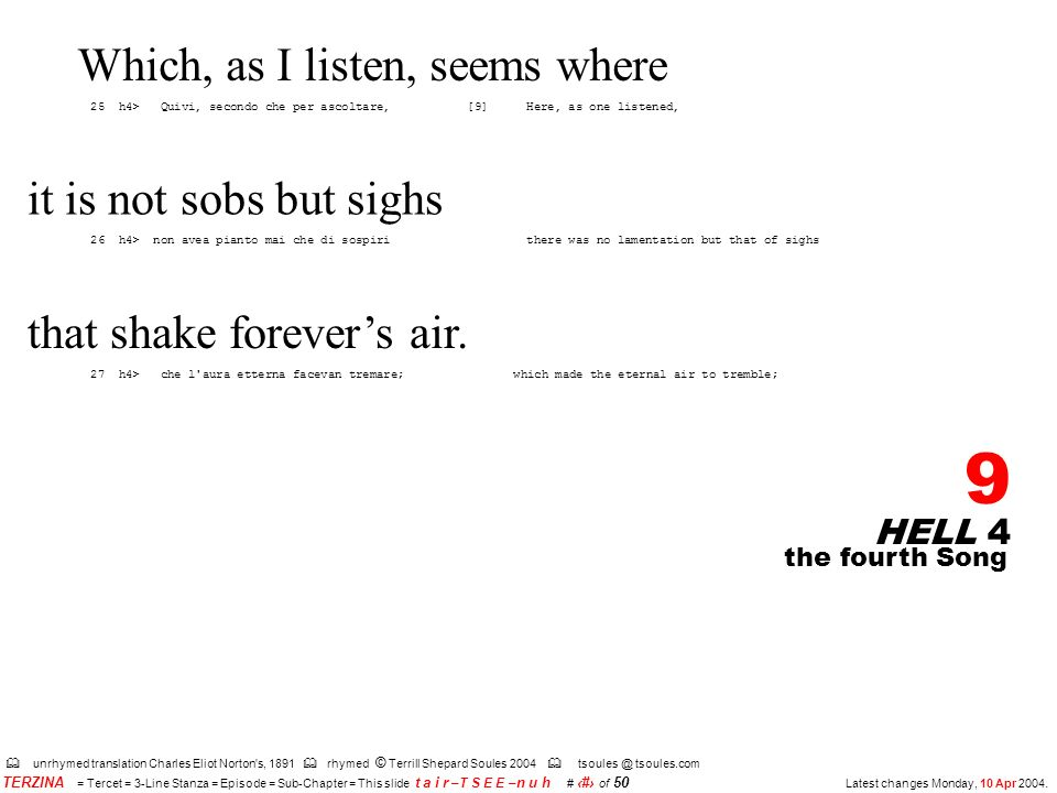 HELL 4 9 the fourth Song unrhymed translation Charles Eliot Norton s, 1891 rhymed © Terrill Shepard Soules 2004 tsoules.com TERZINA = Tercet = 3-Line Stanza = Episode = Sub-Chapter = This slide t a i r –T S E E – n u h # 9 of 50 Latest changes Monday, 10 Apr 2004.