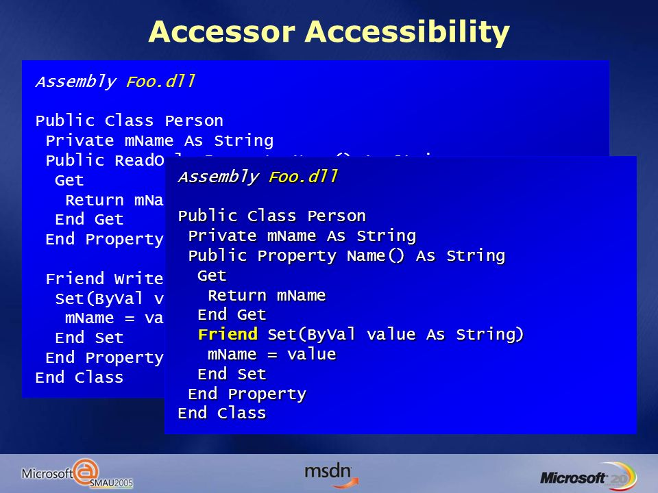 Accessor Accessibility Assembly Foo.dll Public Class Person Private mName As String Public ReadOnly Property Name() As String Get Return mName End Get End Property Friend WriteOnly Property SetName() As String Set(ByVal value As String) mName = value End Set End Property End Class Assembly Foo.dll Public Class Person Private mName As String Private mName As String Public Property Name() As String Public Property Name() As String Get Get Return mName Return mName End Get End Get Friend Set(ByVal value As String) Friend Set(ByVal value As String) mName = value mName = value End Set End Set End Property End Property End Class
