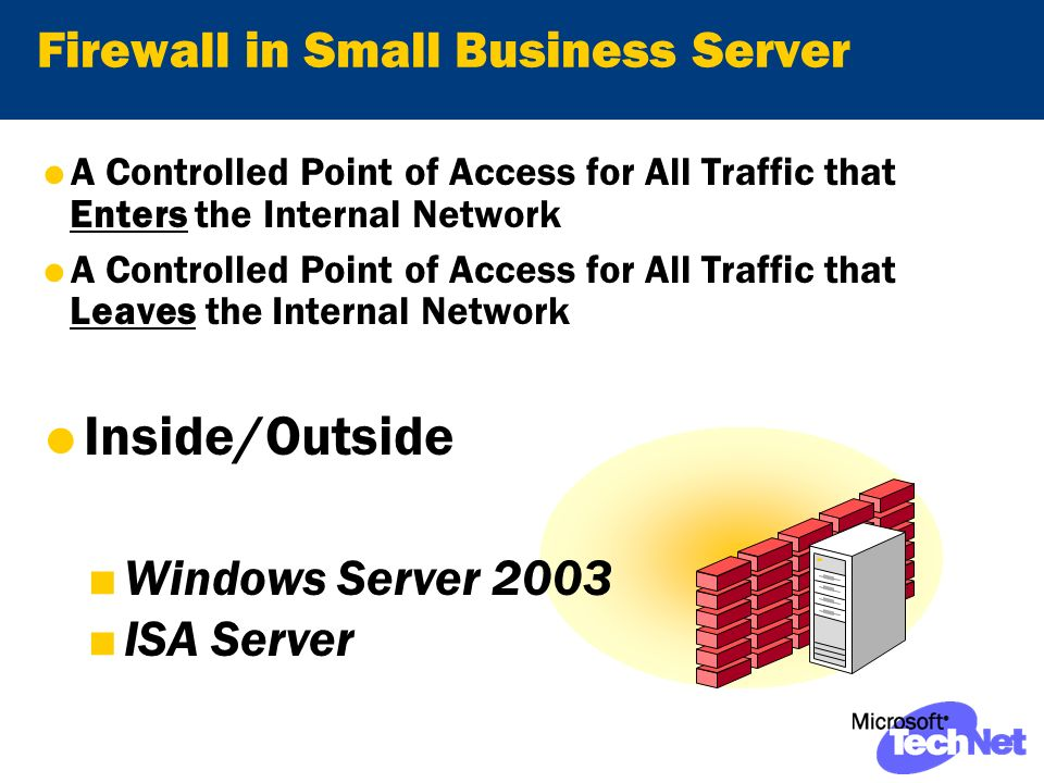 Firewall in Small Business Server A Controlled Point of Access for All Traffic that Enters the Internal Network A Controlled Point of Access for All Traffic that Leaves the Internal Network Inside/Outside Windows Server 2003 ISA Server