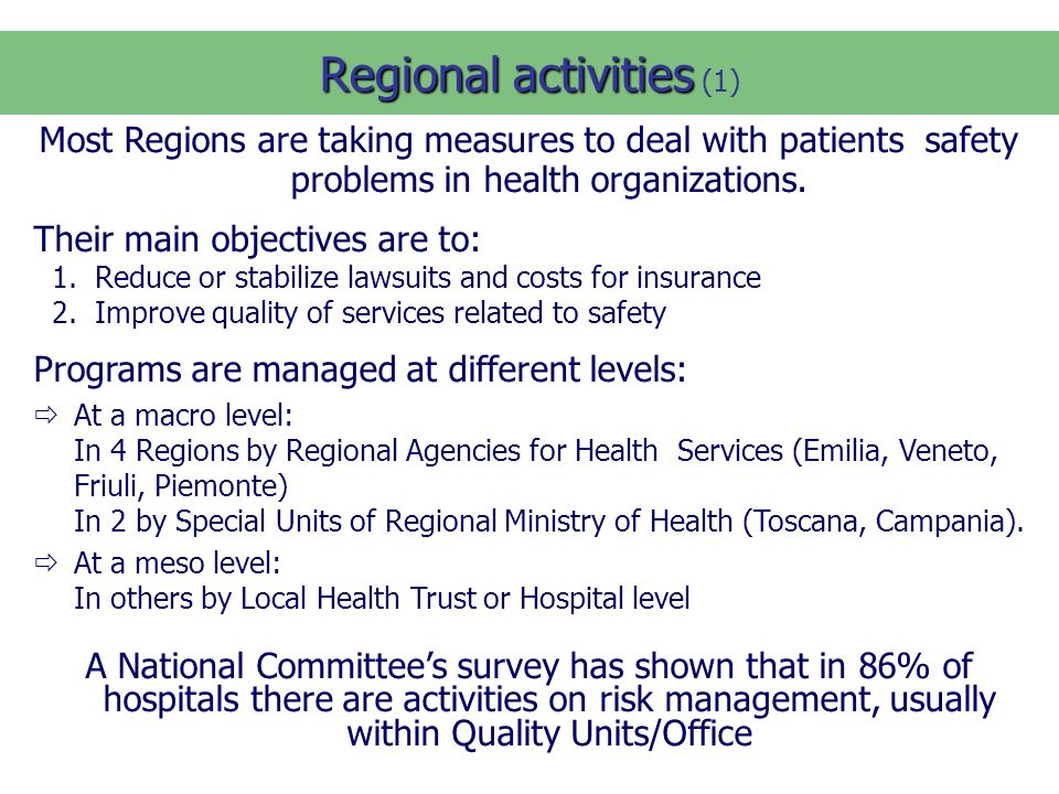 Regional activities Regional activities (1) Most Regions are taking measures to deal with patients safety problems in health organizations.