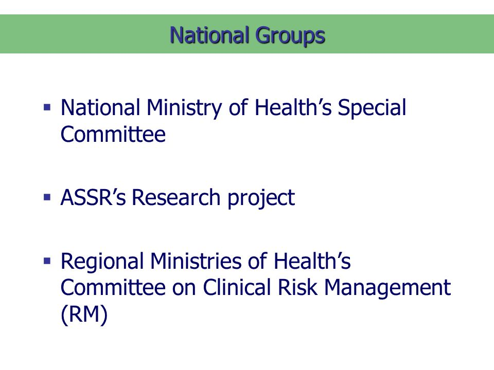 National Groups National Ministry of Healths Special Committee ASSRs Research project Regional Ministries of Healths Committee on Clinical Risk Management (RM)