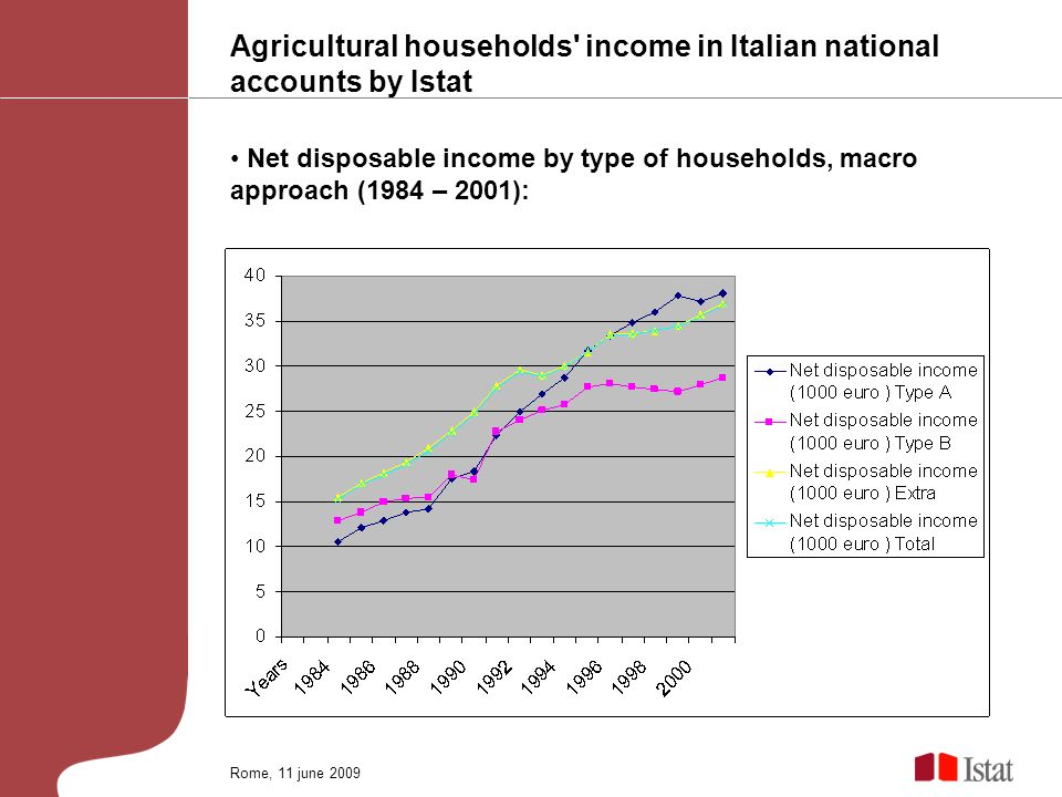Agricultural households income in Italian national accounts by Istat Net disposable income by type of households, macro approach (1984 – 2001): Rome, 11 june 2009