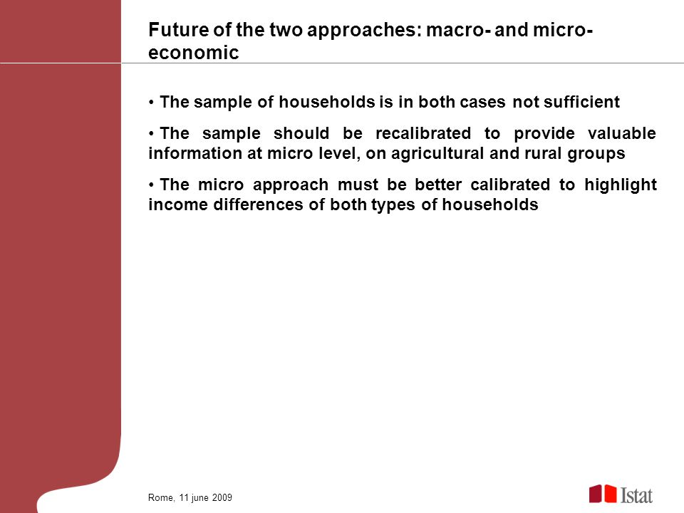 Future of the two approaches: macro- and micro- economic The sample of households is in both cases not sufficient The sample should be recalibrated to provide valuable information at micro level, on agricultural and rural groups The micro approach must be better calibrated to highlight income differences of both types of households Rome, 11 june 2009