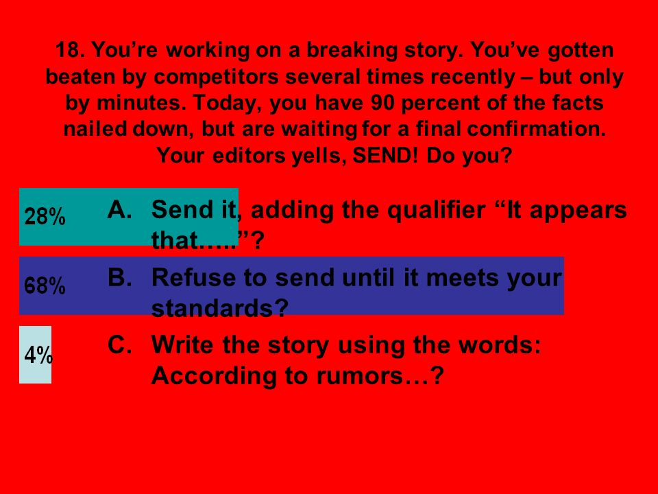 18. Youre working on a breaking story.