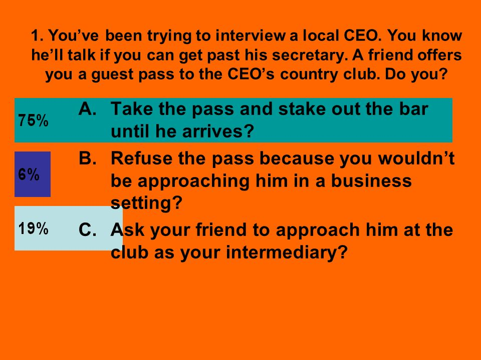 1. Youve been trying to interview a local CEO.