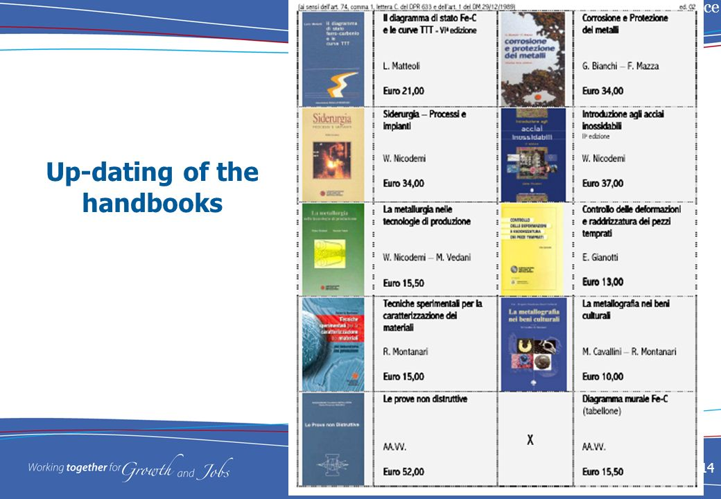 Education in I&S metallurgy in Italy: Past experience and Future Trends 14 Up-dating of the handbooks
