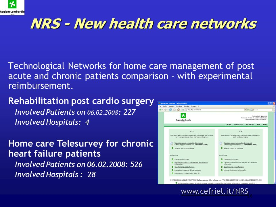 16 NRS - New health care networks Technological Networks for home care management of post acute and chronic patients comparison – with experimental reimbursement.