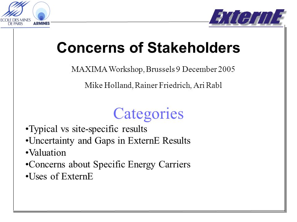 Concerns of Stakeholders MAXIMA Workshop, Brussels 9 December 2005 Mike Holland, Rainer Friedrich, Ari Rabl Categories Typical vs site-specific results Uncertainty and Gaps in ExternE Results Valuation Concerns about Specific Energy Carriers Uses of ExternE