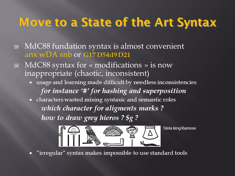 MdC88 fundation syntax is almost convenient anx wDA snb or G17 D54:I9 D21 MdC88 syntax for « modifications » is now inappropriate (chaotic, inconsistent) usage and learning made difficult by needless inconsistencies for instance # for hashing and superposition characters wasted mixing syntaxic and semantic roles which character for aligments marks .