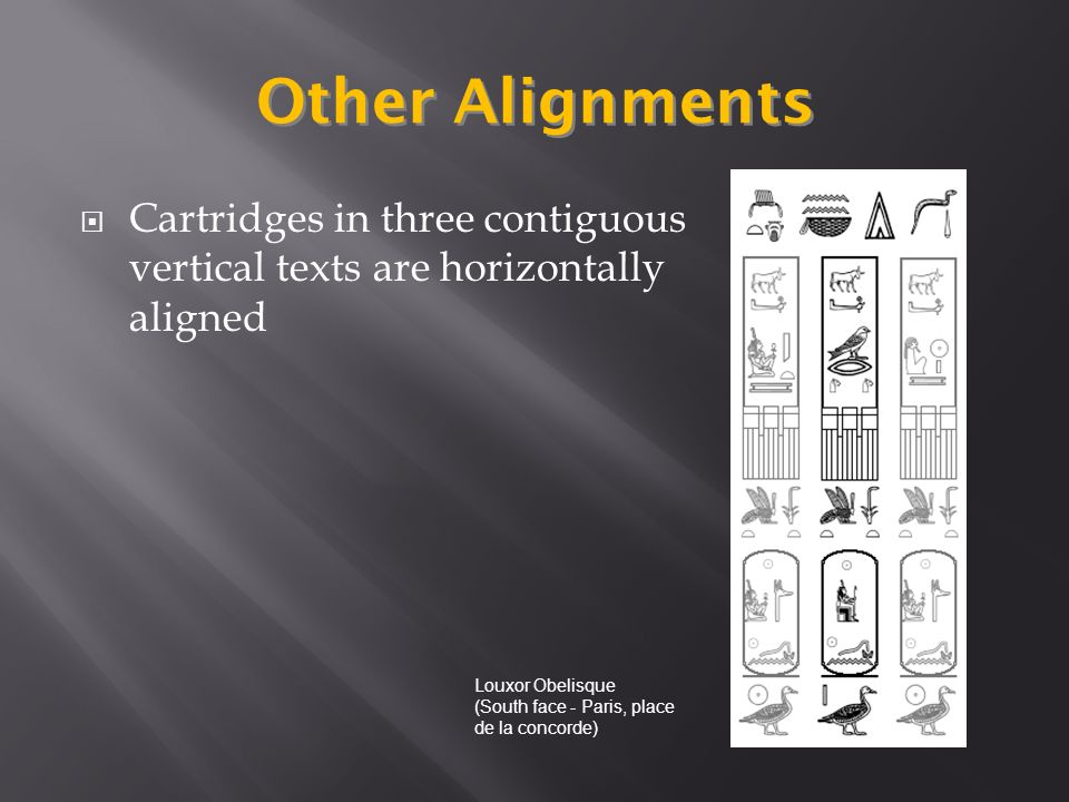 Other Alignments Cartridges in three contiguous vertical texts are horizontally aligned Louxor Obelisque (South face - Paris, place de la concorde)