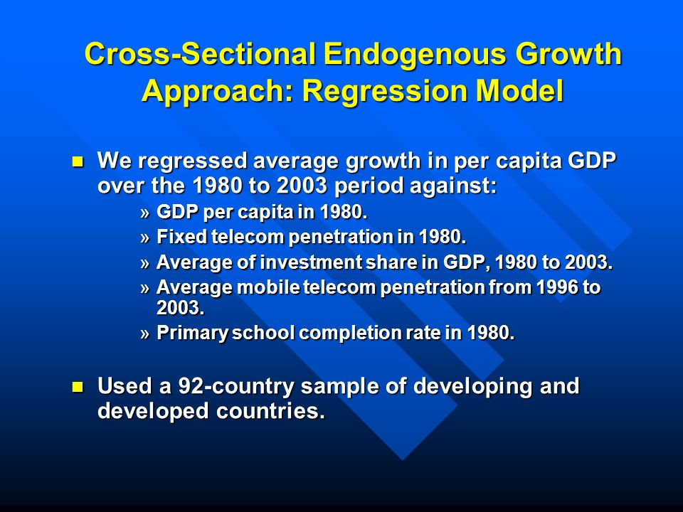 Cross-Sectional Endogenous Growth Approach: Regression Model We regressed average growth in per capita GDP over the 1980 to 2003 period against: We regressed average growth in per capita GDP over the 1980 to 2003 period against: »GDP per capita in 1980.