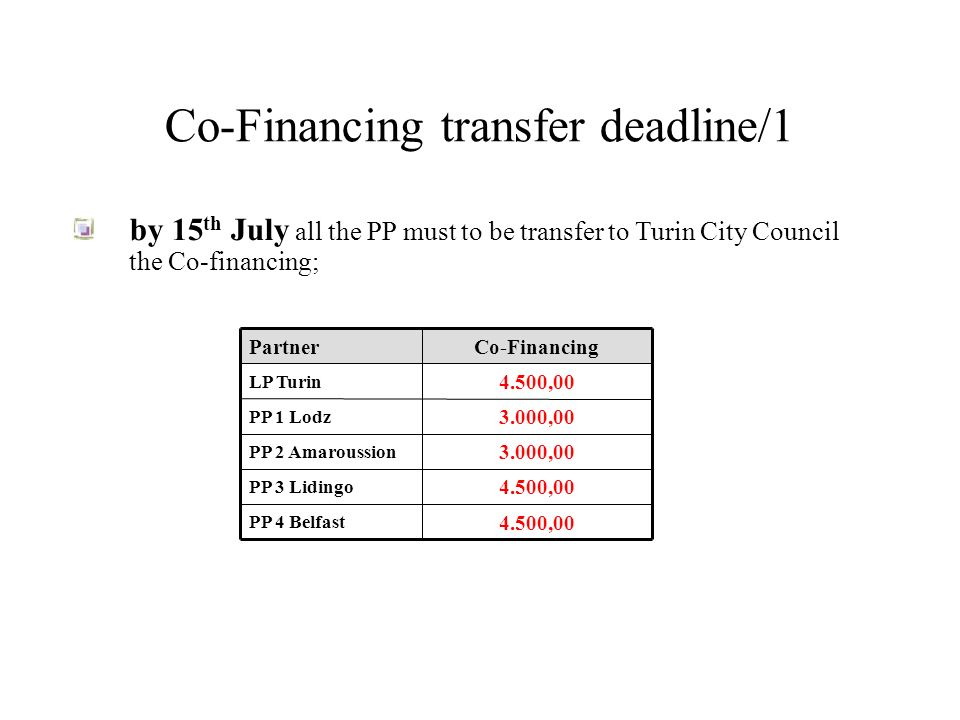 Co-Financing transfer deadline/1 by 15 th July all the PP must to be transfer to Turin City Council the Co-financing; 4.500,00 PP 4 Belfast 4.500,00 PP 3 Lidingo 3.000,00 PP 2 Amaroussion 3.000,00 PP 1 Lodz 4.500,00 LP Turin Co-FinancingPartner