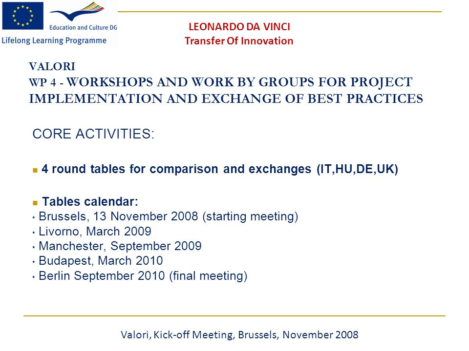 VALORI WP 4 - WORKSHOPS AND WORK BY GROUPS FOR PROJECT IMPLEMENTATION AND EXCHANGE OF BEST PRACTICES CORE ACTIVITIES: 4 round tables for comparison and exchanges (IT,HU,DE,UK) Tables calendar: Brussels, 13 November 2008 (starting meeting) Livorno, March 2009 Manchester, September 2009 Budapest, March 2010 Berlin September 2010 (final meeting) Valori, Kick-off Meeting, Brussels, November 2008 LEONARDO DA VINCI Transfer Of Innovation
