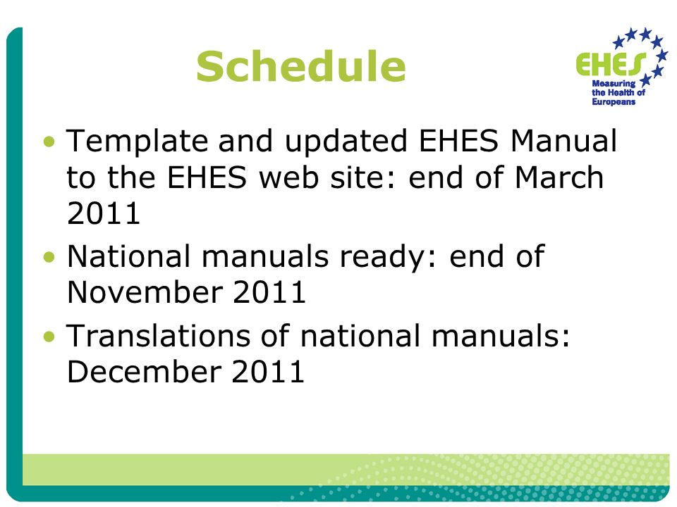 Schedule Template and updated EHES Manual to the EHES web site: end of March 2011 National manuals ready: end of November 2011 Translations of national manuals: December 2011