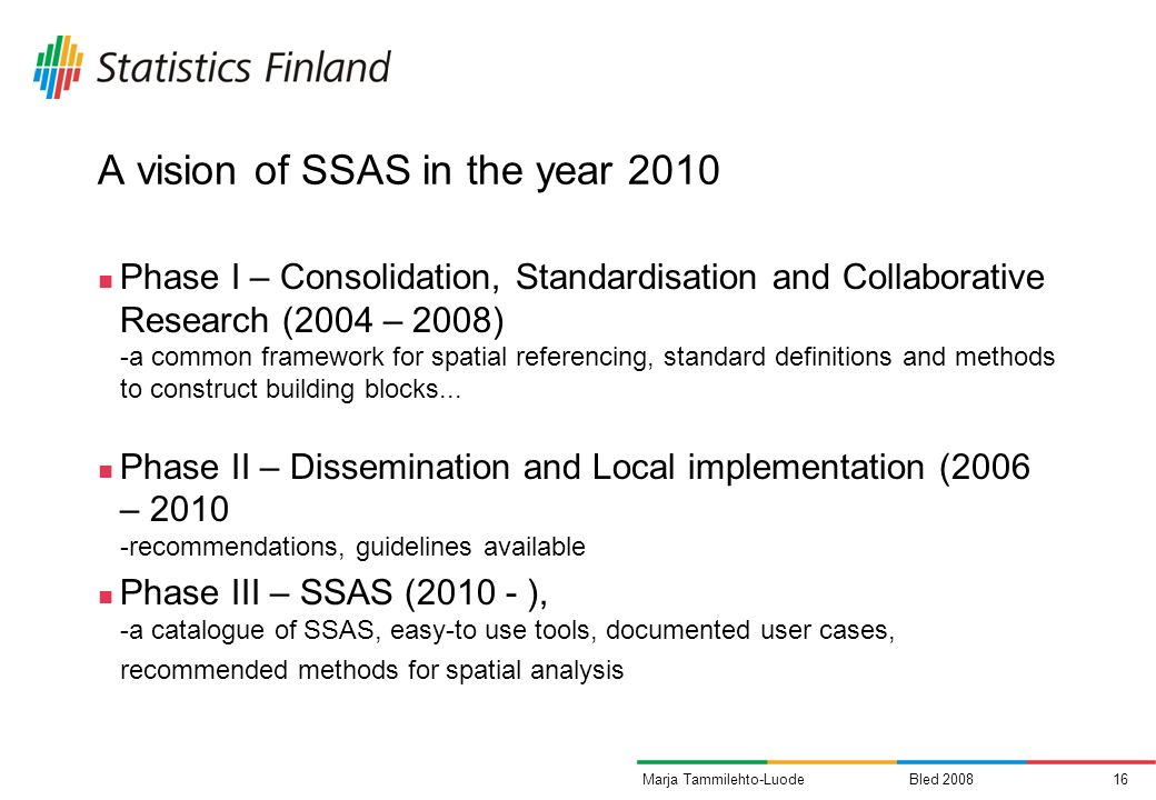 Bled Marja Tammilehto-Luode A vision of SSAS in the year 2010 Phase I – Consolidation, Standardisation and Collaborative Research (2004 – 2008) -a common framework for spatial referencing, standard definitions and methods to construct building blocks...