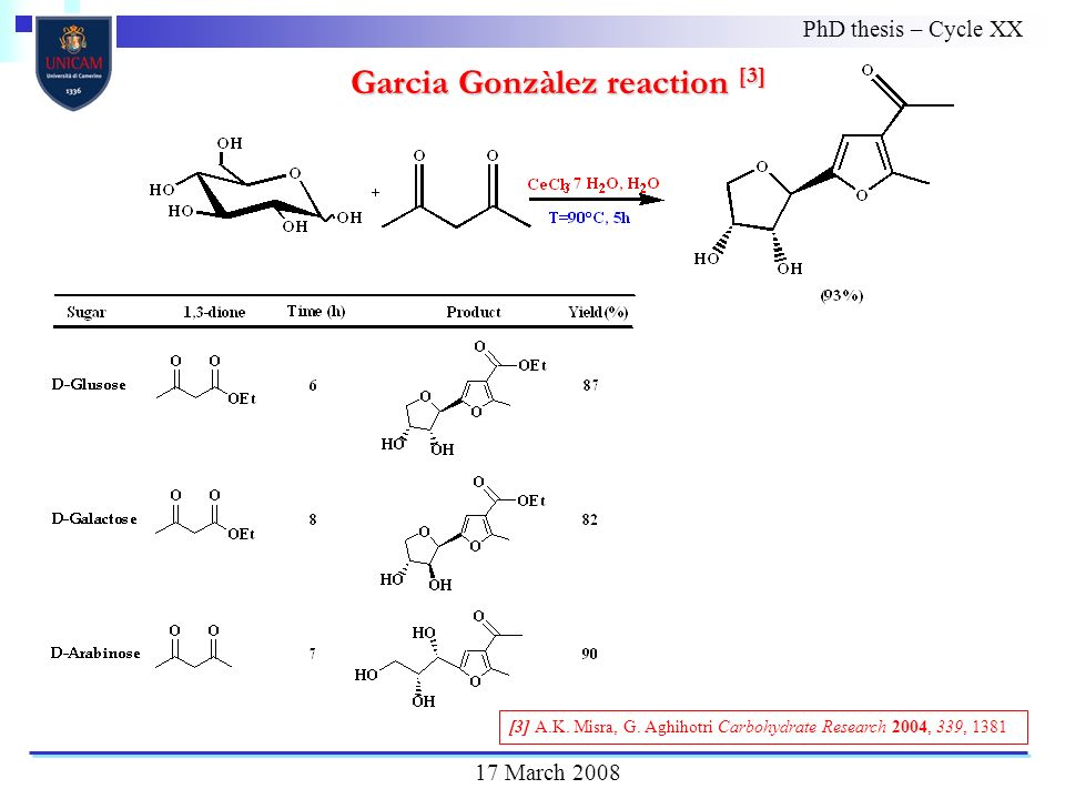 PhD thesis – Cycle XX 17 March 2008 Garcia Gonzàlez reaction [3] [3] A.K.