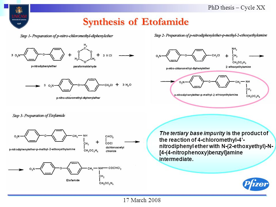 Synthesis of Etofamide The tertiary base impurity is the product of the reaction of 4-chloromethyl-4- nitrodiphenyl ether with N-(2-ethoxyethyl)-N- [4-(4-nitrophenoxy)benzyl]amine intermediate.