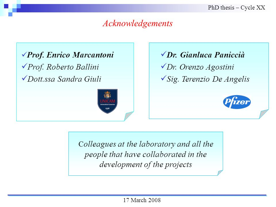 Acknowledgements C olleagues at the laboratory and all the people that have collaborated in the development of the projects PhD thesis – Cycle XX Prof.
