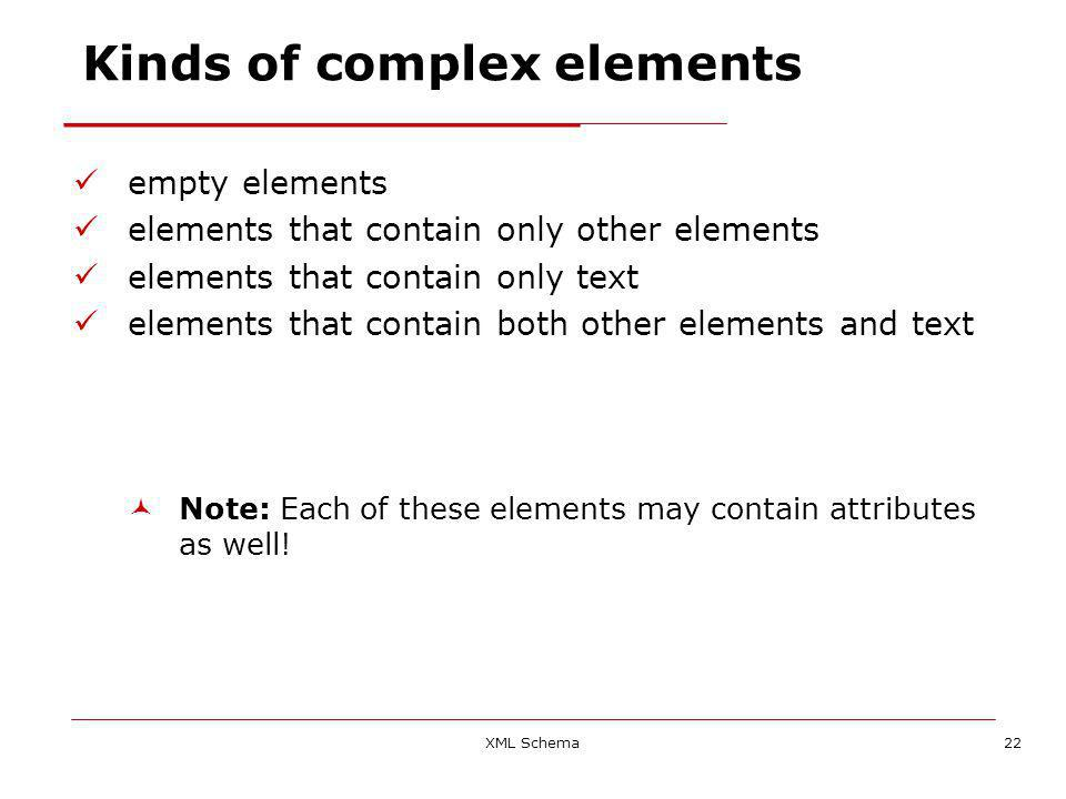 XML Schema22 Kinds of complex elements empty elements elements that contain only other elements elements that contain only text elements that contain both other elements and text Note: Each of these elements may contain attributes as well!