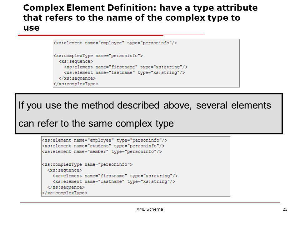 XML Schema25 Complex Element Definition: have a type attribute that refers to the name of the complex type to use If you use the method described above, several elements can refer to the same complex type