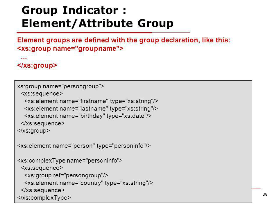 XML Schema38 Group Indicator : Element/Attribute Group Element groups are defined with the group declaration, like this:...