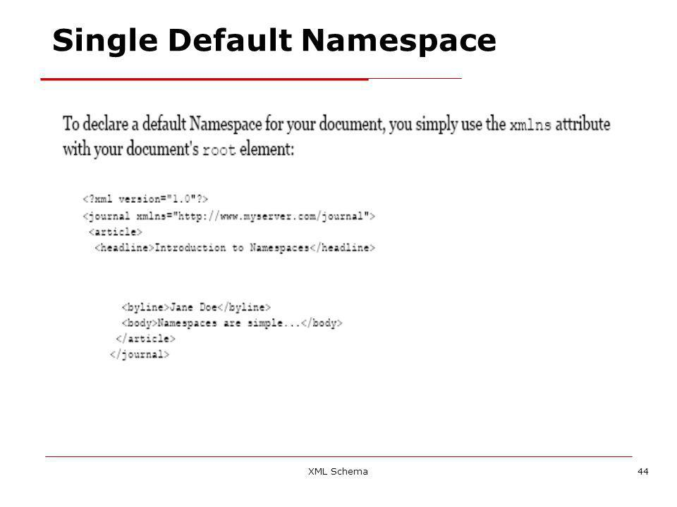 XML Schema44 Single Default Namespace
