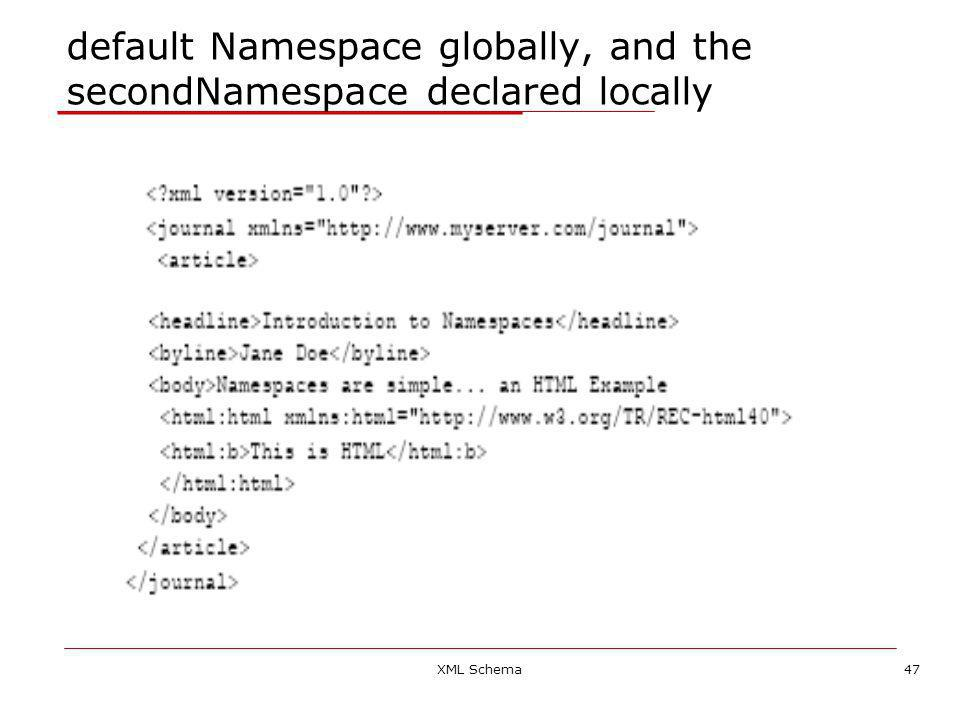 XML Schema47 default Namespace globally, and the secondNamespace declared locally