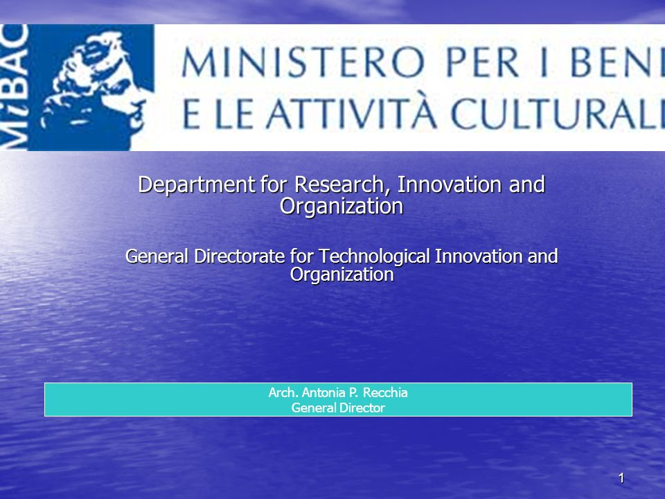 1 Department for Research, Innovation and Organization General Directorate for Technological Innovation and Organization Arch.