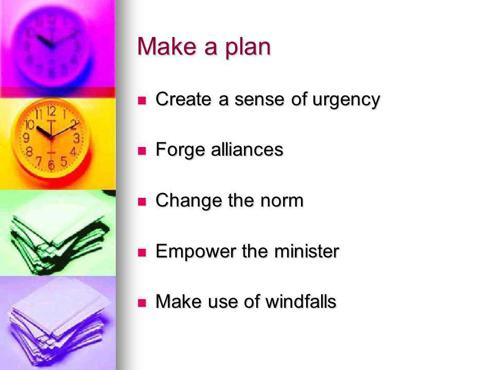 Make a plan Create a sense of urgency Create a sense of urgency Forge alliances Forge alliances Change the norm Change the norm Empower the minister Empower the minister Make use of windfalls Make use of windfalls