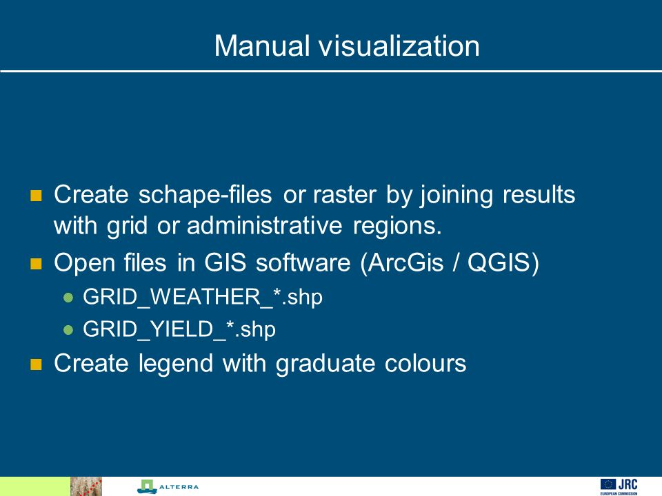 Manual visualization Create schape-files or raster by joining results with grid or administrative regions.