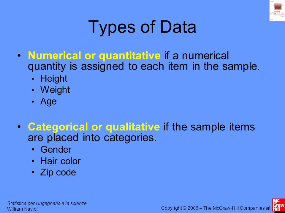 Statistica per lingegneria e le scienze William Navidi Copyright © 2006 – The McGraw-Hill Companies srl Types of Data Numerical or quantitative if a numerical quantity is assigned to each item in the sample.