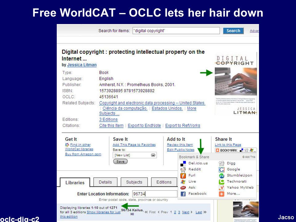 Free WorldCAT – OCLC lets her hair down Jacso oclc-dig-c2