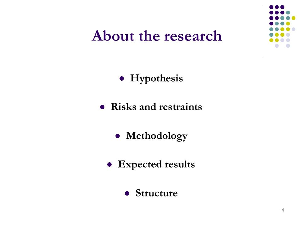 4 About the research Hypothesis Risks and restraints Methodology Expected results Structure