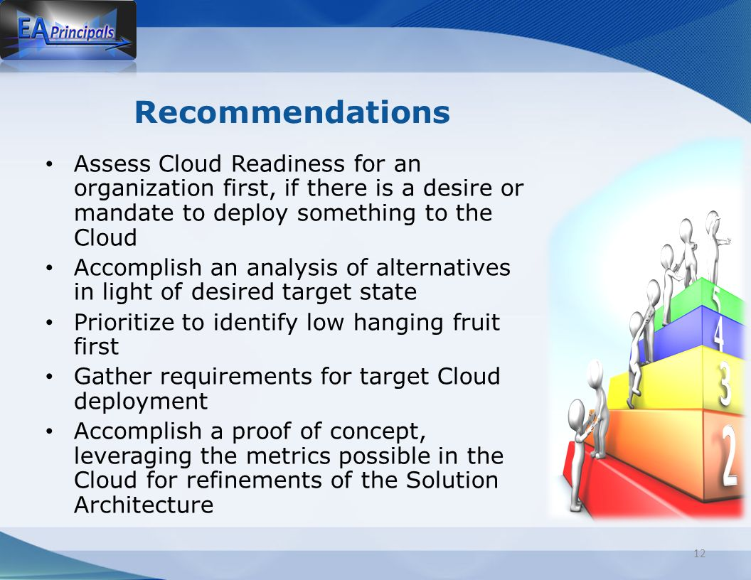 Recommendations Assess Cloud Readiness for an organization first, if there is a desire or mandate to deploy something to the Cloud Accomplish an analysis of alternatives in light of desired target state Prioritize to identify low hanging fruit first Gather requirements for target Cloud deployment Accomplish a proof of concept, leveraging the metrics possible in the Cloud for refinements of the Solution Architecture 12