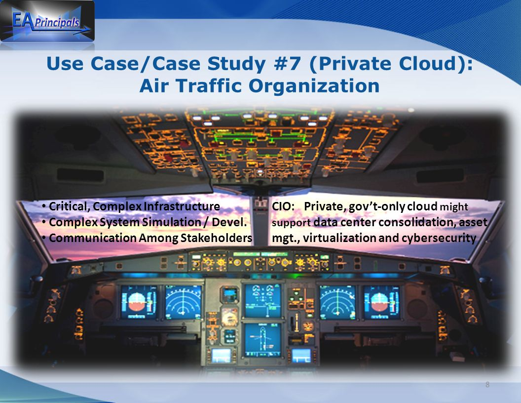 Use Case/Case Study #7 (Private Cloud): Air Traffic Organization 8 Critical, Complex Infrastructure Complex System Simulation / Devel.
