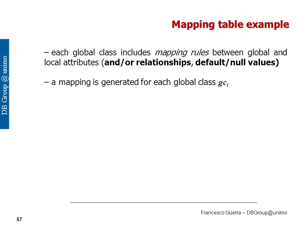 Francesco Guerra – DBGroup@unimo 57 Mapping table example – – each global class includes mapping rules between global and local attributes (and/or relationships, default/null values) – – a mapping is generated for each global class gc i