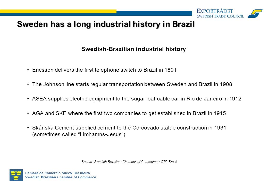 Câmara de Comércio Sueco-Brasileira Swedish-Brazilian Chamber of Commerce Swedish-Brazilian industrial history Ericsson delivers the first telephone switch to Brazil in 1891 The Johnson line starts regular transportation between Sweden and Brazil in 1908 ASEA supplies electric equipment to the sugar loaf cable car in Rio de Janeiro in 1912 AGA and SKF where the first two companies to get established in Brazil in 1915 Skånska Cement supplied cement to the Corcovado statue construction in 1931 (sometimes called Limhamns-Jesus) Source: Swedish-Brazilian Chamber of Commerce / STC Brazil Sweden has a long industrial history in Brazil