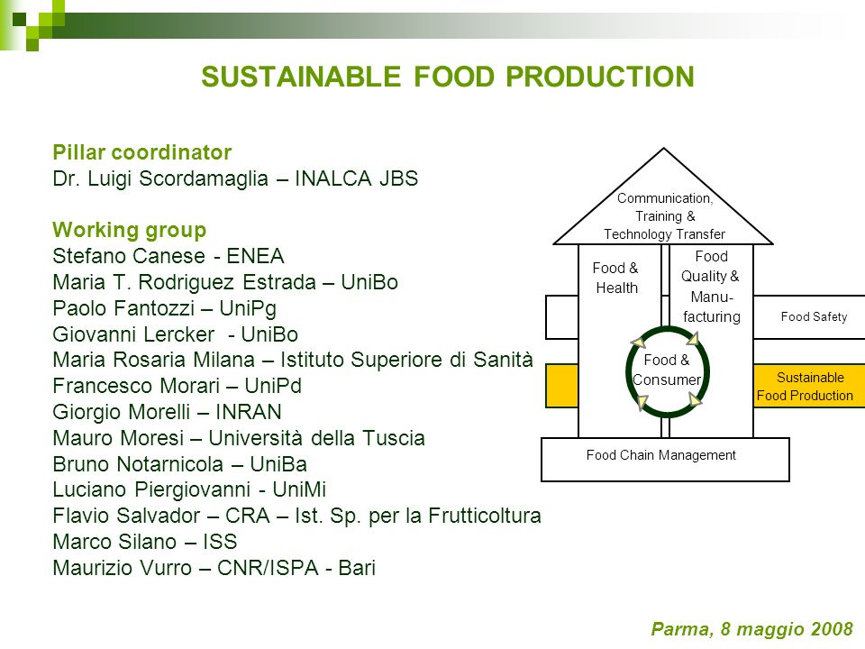 SUSTAINABLE FOOD PRODUCTION Pillar coordinator Dr.